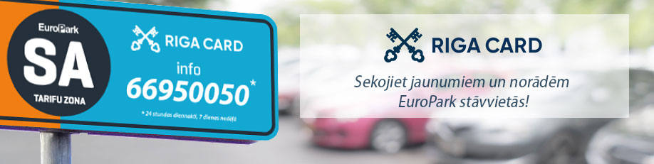 Apmaksā EuroPark stāvvietas RIGA CARD aplikācijā